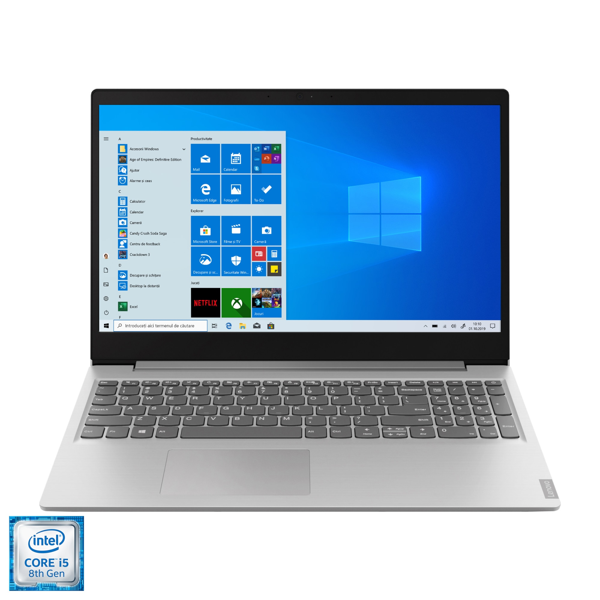 "Fotografie Laptop Lenovo Ideapad S145-15IWL cu procesor Intel Core i5-8265U pana la 3.9 GHz, 15.6"", Full HD, 8GB, 256GB SSD M.2, Intel UHD Graphics 620, Windows 10 Home, Grey"