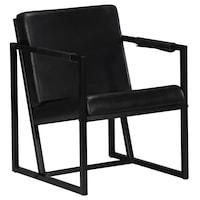 Фотьойл vidaXL, 55х62х75 см, черен, естествена кожа и стомана