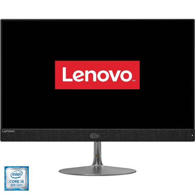 "Fotografie Sistem PC All-in-One Lenovo IdeaCentre 730S-24IKB cu procesor Intel® Core™ i5-8250U pana la 3.40 GHz, Kaby Lake R, 23.8"", Full HD, 8GB, 1TB + 128GB M.2 SSD, Intel® UHD Graphics 620, Free DOS, Iron Grey"
