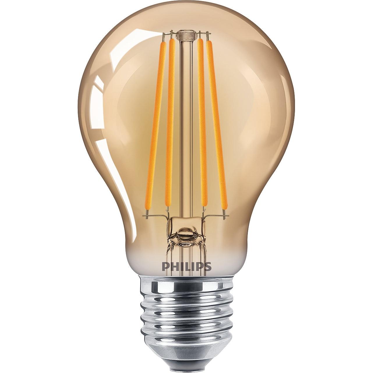 Fotografie Bec LED vintage Philips Classic, E27, 5.5W (48W), 600 lm, 2500K, flacara, Gold