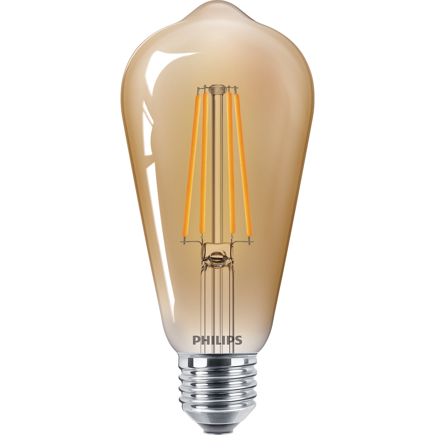 Fotografie Bec LED vintage Philips Classic, E27, 5.5W (48W), 600 lm, 2500K, flacara, Gold