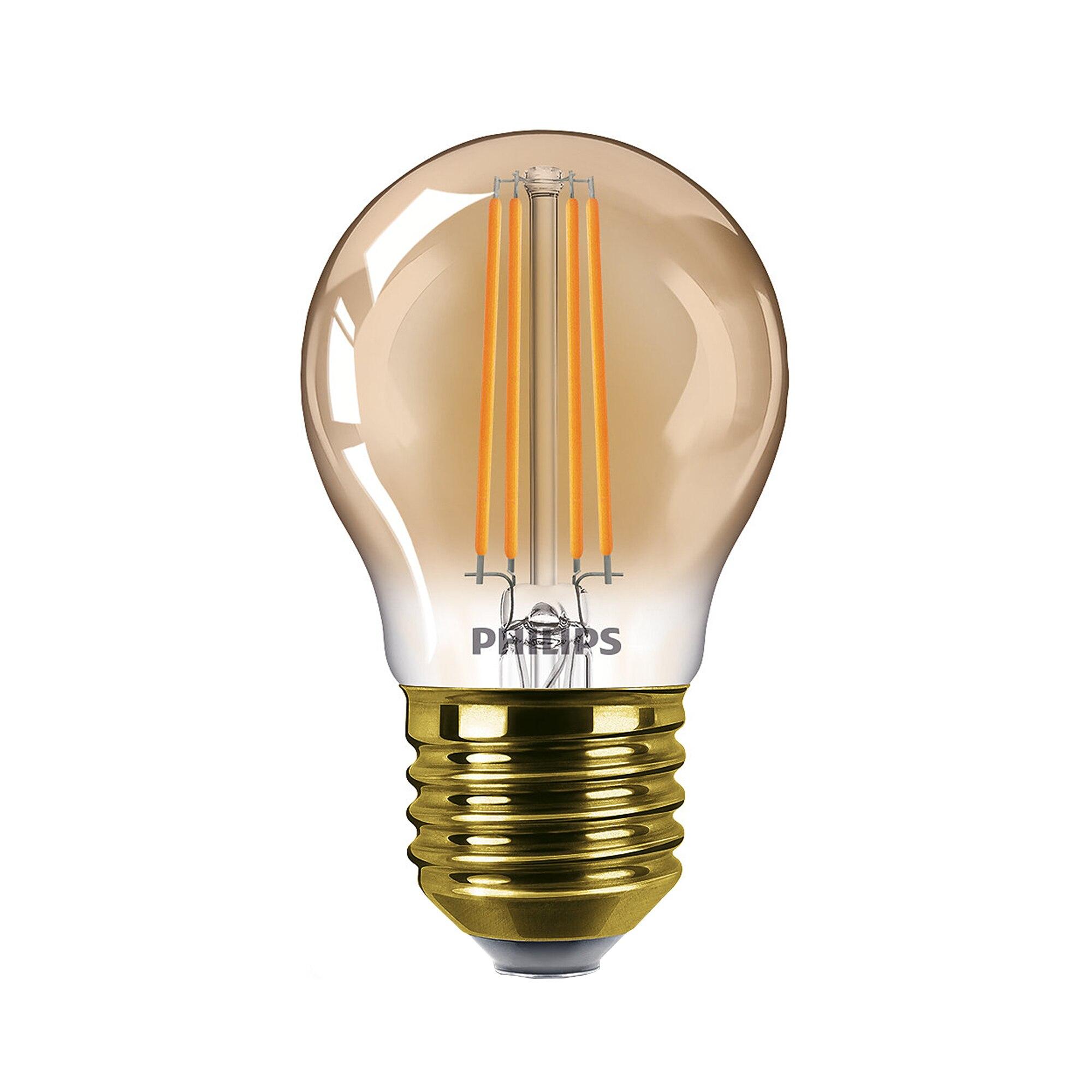 Fotografie Bec LED vintage dimabil Philips Classic, E27, 5W (32W), 150 lm, 2200K, flacara, Gold