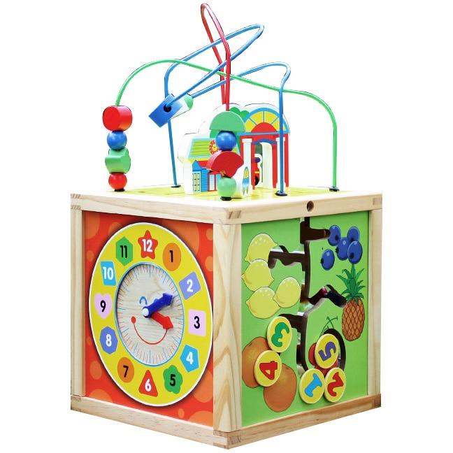 Fotografie Jucarie lemn M-Toys - Cubul multifunctional cu ceas