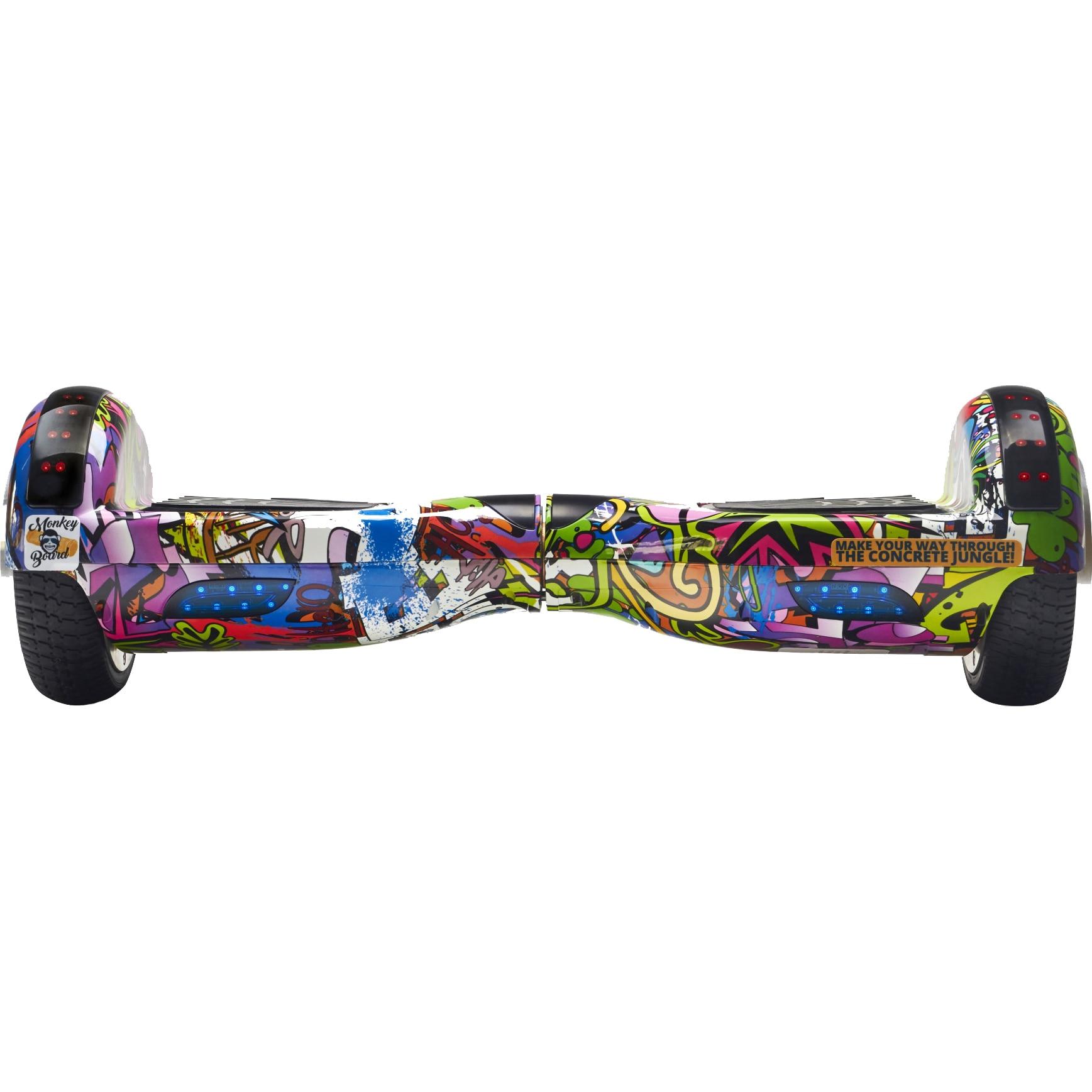 Fotografie Hoverboard Original MonkeyBoard® Jungle Mania, Scuter electric, roti 6.5 inch, bluetooth, geanta de transport cadou, led-uri, lumini de zi/noapte, boxa incorporata, 1000w