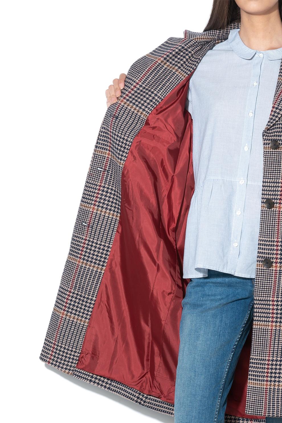 Fornarina, Chinue halszálkamintás gombos kabát, BordóFehér