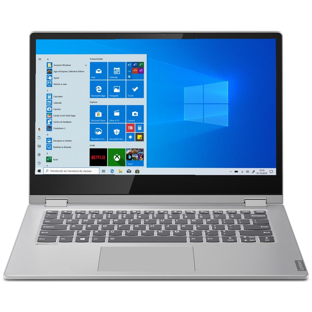 "Fotografie Laptop 2 in 1 Lenovo Ideapad C340-14API cu procesor AMD Ryzen 3 3200U pana la 3.50GHz, 14"", Full HD, Touch, 4GB, 256GB SSD M.2, Radeon Vega 3, Microsoft Windows 10, Platinum Grey"