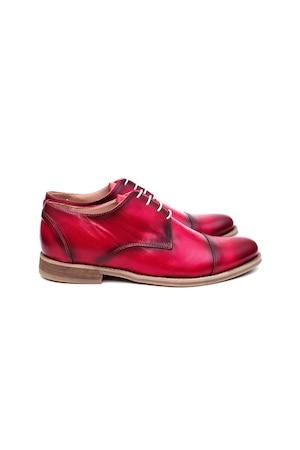 Pantofi Barbati Narubo, 100% Piele Naturala, Rosu, 45 EU