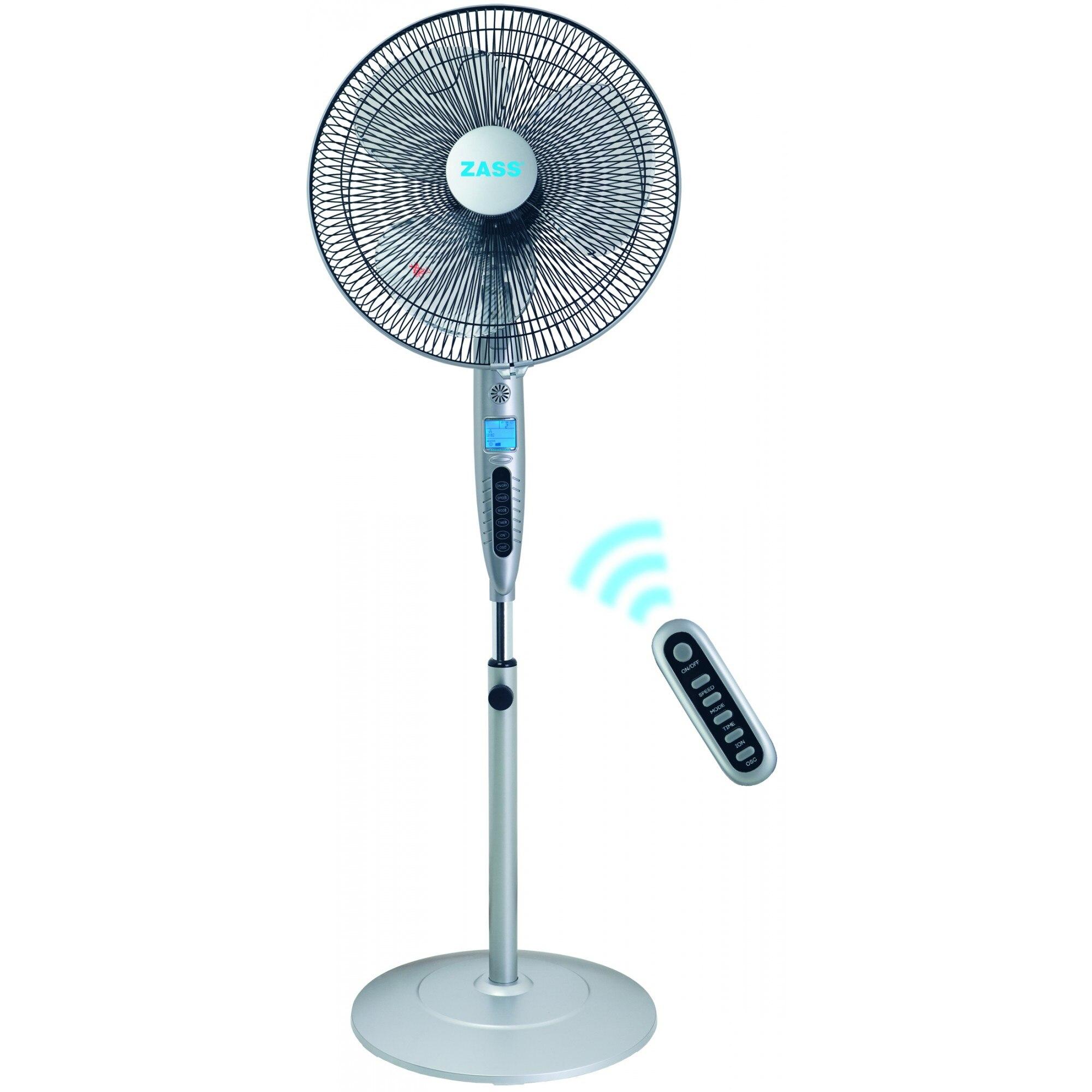 Fotografie Ventilator Zass ZFTI 10R, 55W, display LCD, ionizare, timer, oscilare, telecomanda, Gri