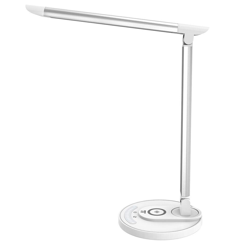 Fotografie Lampa LED de birou TaoTronics TT-DL036, cu incarcator wireless, control touch, USB, 12W, 410 lm, A+++, 43 cm, Argintiu