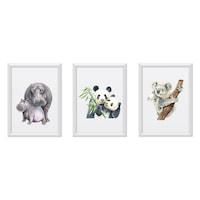 3 festmény készlet a gyerekszobához, Állatok 16, Digital Ascend, MDF keret 30x20cm, biztonságos plexi üveg