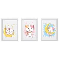 3 festmény készlet a gyerekszobához, Állatok 28, Digital Ascend, MDF keret 30x20cm, biztonságos plexi üveg