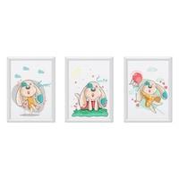 3 festmény készlet a gyerekszobához, Állatok 23, Digital Ascend, MDF keret 30x20cm, biztonságos plexi üveg