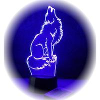 Farkas mintás LED 3D illúzió lámpa távirányítóval