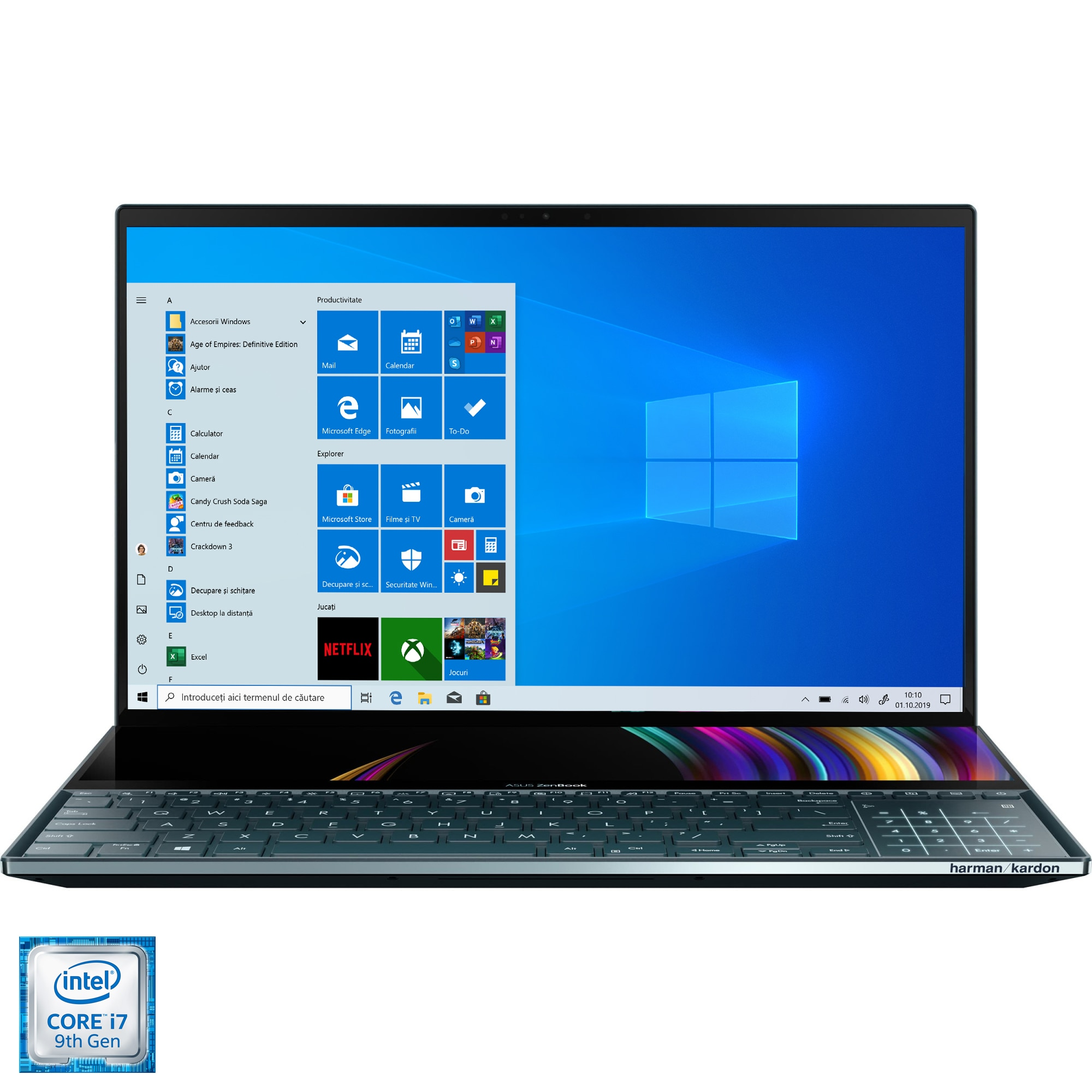 "Fotografie Laptop ultraportabil ASUS ZenBook Pro Duo UX581GV cu procesor Intel® Core™ i7-9750H pana la 4.50 GHz Coffee Lake, 15.6"", 4K, OLED, Touch, 16GB, 512GB SSD, NVIDIA GeForce RTX 2060 6GB, Windows 10 Pro, Celestial Blue"