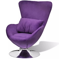 Въртящ се фотьойл с възглавница vidaXL, яйцевидна форма, лилав, малък, 64х64х86 см