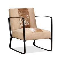 Кресло vidaXL, естествена кожа и плат, крем