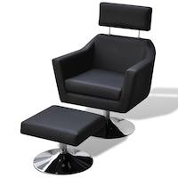 ТВ фотьойл от изкуствена кожа vidaXL, с табуретка, черен, 66х59х86 см