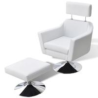 ТВ фотьойл от изкуствена кожа vidaXL, бял, 66х59х86 см