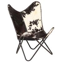 Стол Пеперуда vidaXL, естествена козя кожа, черно и бяло, 74х66х90 см
