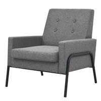 Кресло vidaXL, стомана и плат, 74х81х82 см, светлосиво