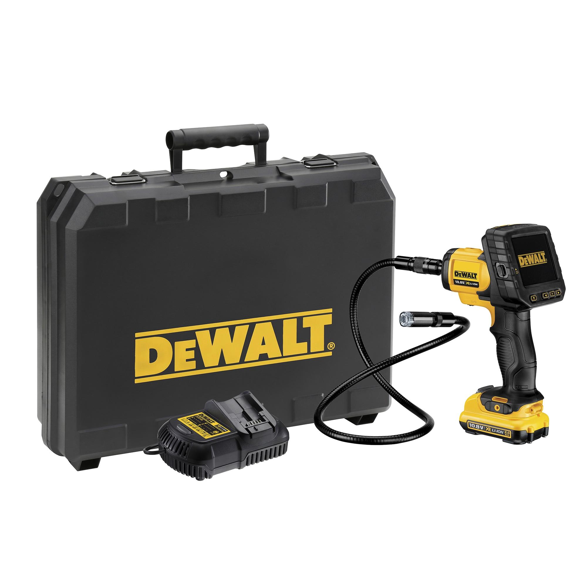 Fotografie Camera de inspectie pe acumulator DeWalt DCT410D1, 10.8 V, ecran LCD, 3x zoom, 1 acumulator, incarcator, carlig, magnet, cablu video, cutie depozitare profesionala