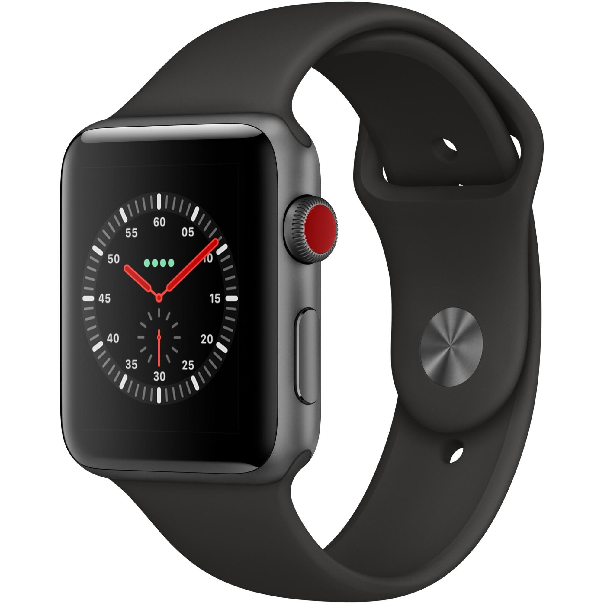 Fotografie Apple Watch 3, GPS, Cellular, Carcasa Space Grey Aluminium 42mm, Black Sport Band