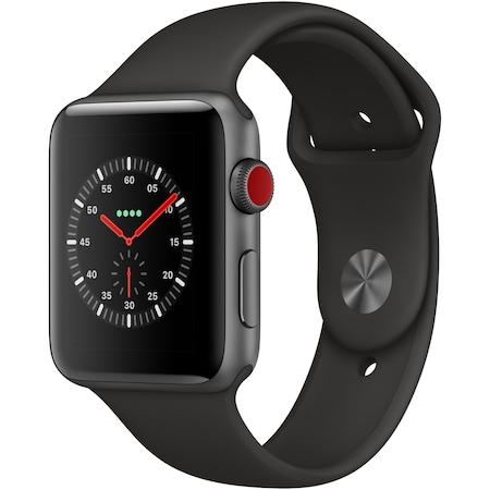 Apple Watch 3, GPS, Cellular, 42mm Space Grey Aluminium Case with Black Sport Band