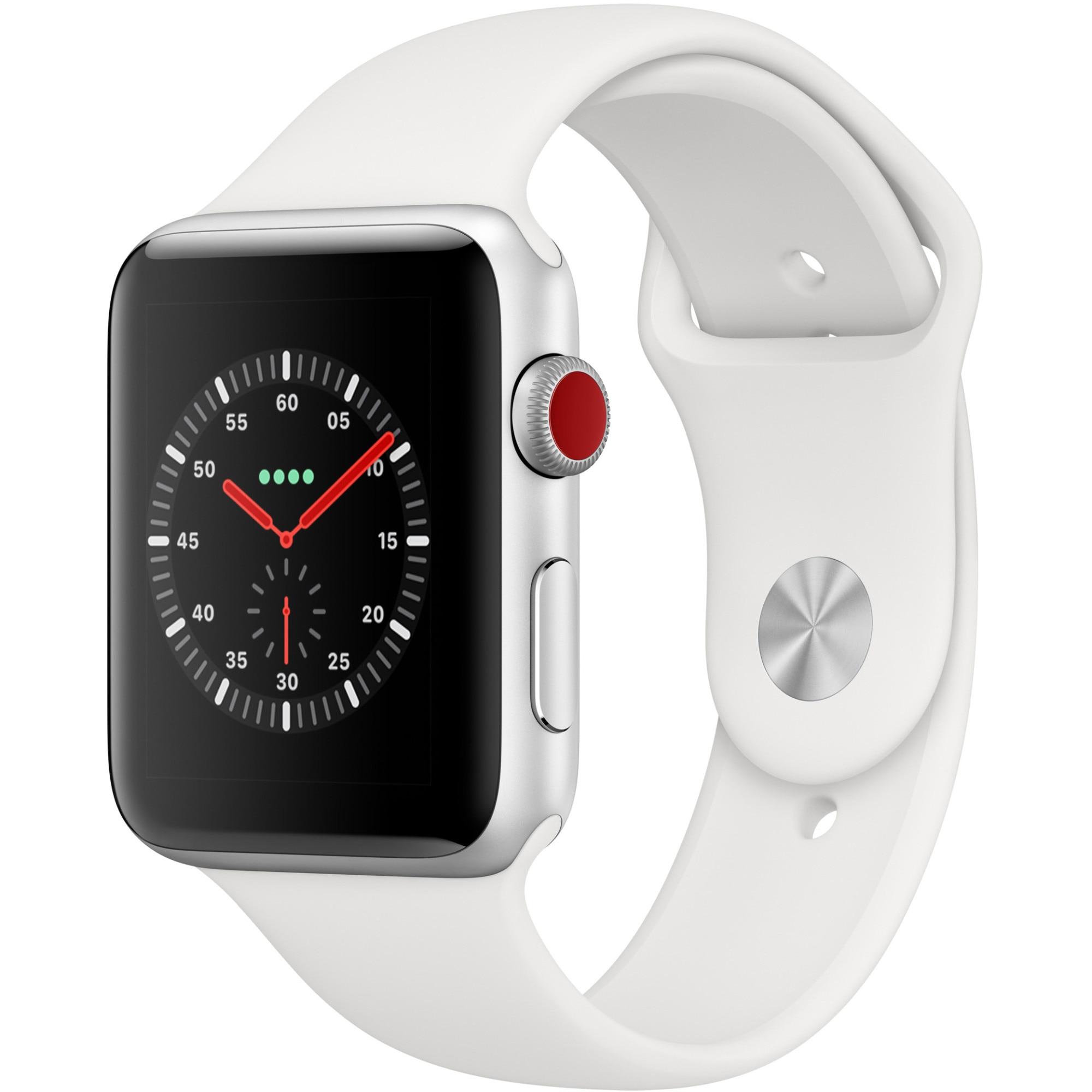 Fotografie Apple Watch 5, GPS, Cellular, Carcasa Silver Aluminium 44mm, White Sport Band - S/M & M/L