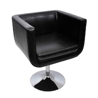 Бар стол vidaXL, изкуствена кожа, черен, 63х59х75,5 см