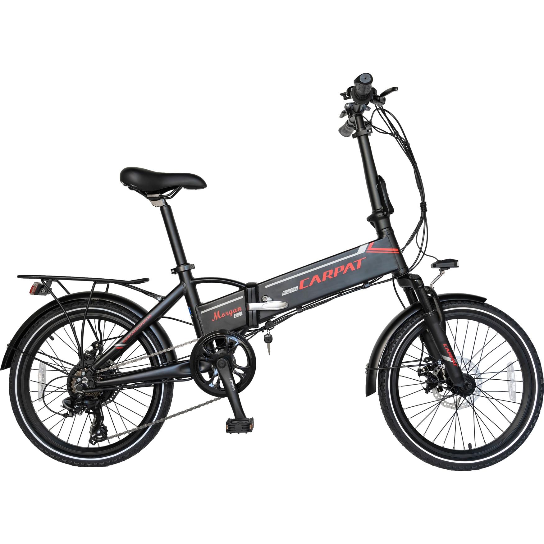 Fotografie Bicicleta Folding Electric Carpat C1003E, Negru/Rosu