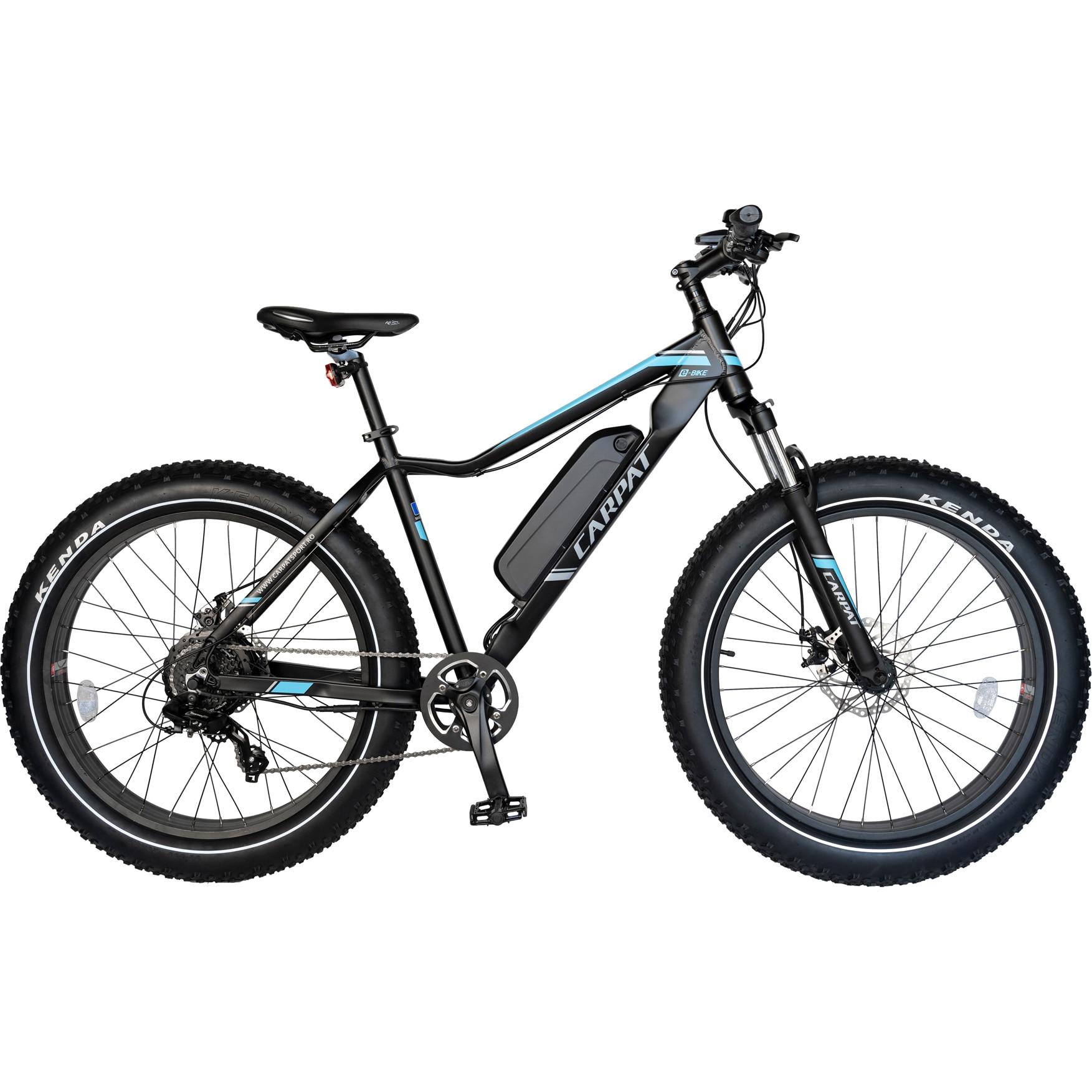 Fotografie Bicicleta FAT BIKE Electric Carpat C1002E, Negru/Albastru
