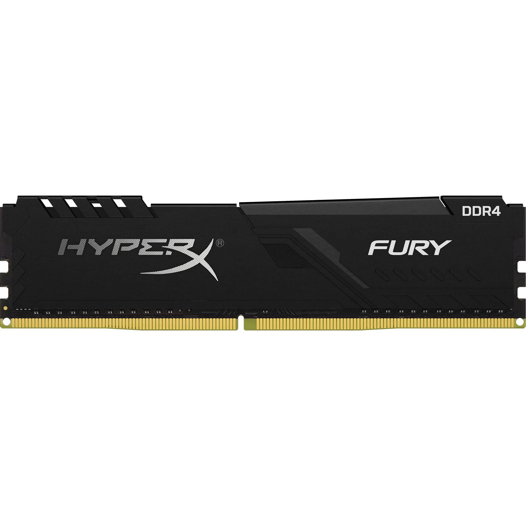 Fotografie Memorie HyperX Fury Black 8GB, DDR4, 2666MHz, CL16, 1.2V