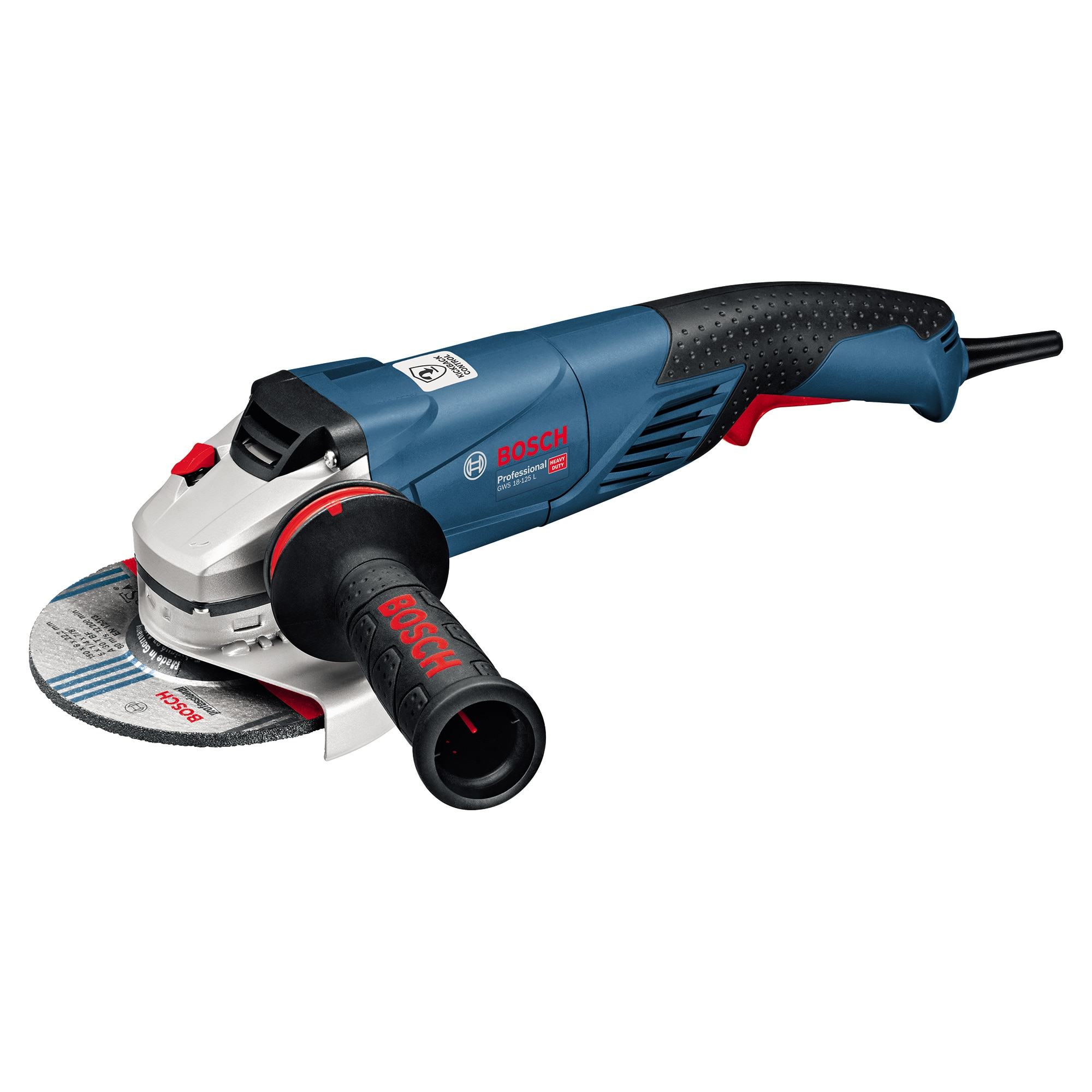 Fotografie Polizor unghiular Bosch Professional GWS 18-125 L, 1800 W, 11.500 RPM, 125 mm diametru disc, M 14 arbore de slefuit + piulita de strangere + flansa de prindere + aparatoare de protectie + maner suplimentar