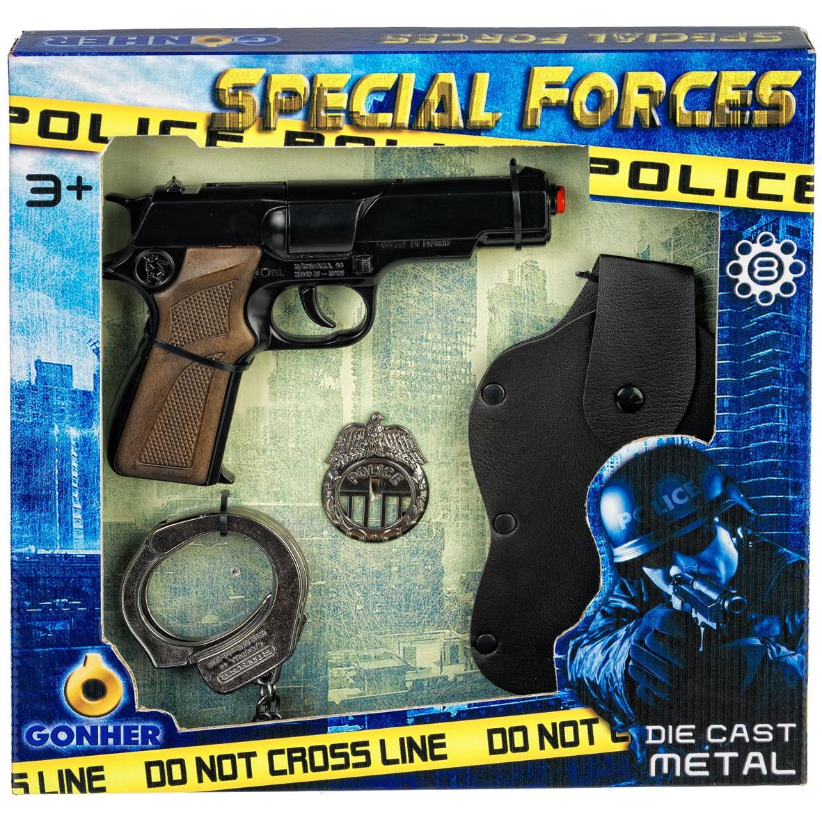 Fotografie Set politie Gonher, pistol cu capse, catuse