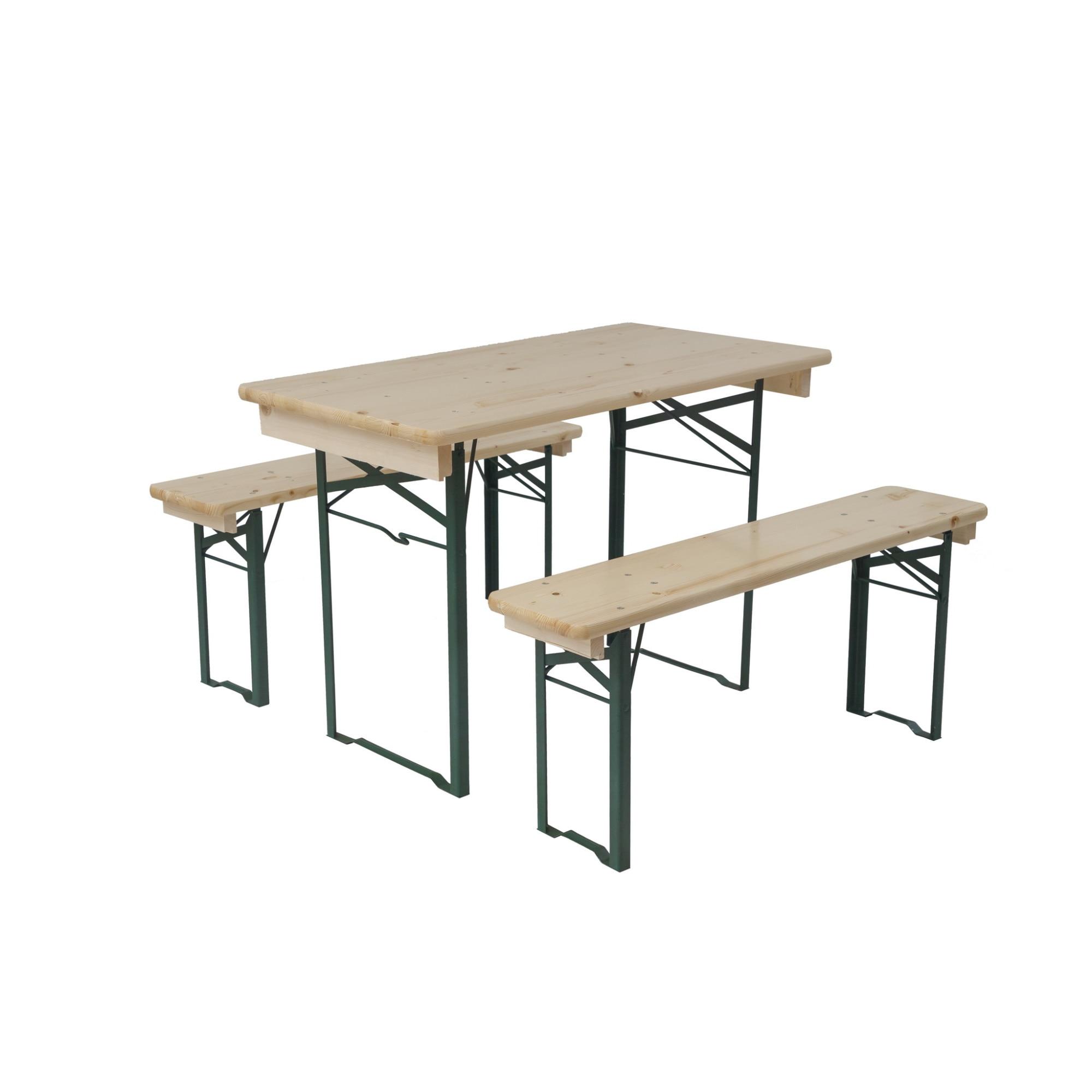 Fotografie Set mobilier voiaj lemn natur, masa 50x110 cm, 2 banci 25x110 cm