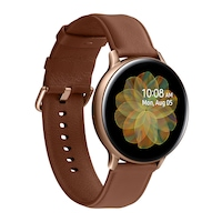 Samsung Galaxy Watch Active 2 okosóra, 44 mm, rozsdamentes acél kivitel, arany bőrpánttal