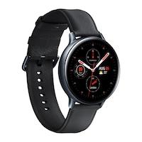 Samsung Galaxy Watch Active 2 okosóra, 44 mm, rozsdamentes acél kivitel, fekete tokkal, fekete bőrpánttal