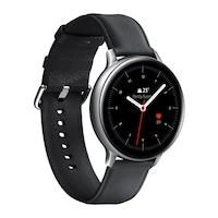 Samsung Galaxy Watch Active 2 okosóra, 44 mm, rozsdamentes acél kivitel, ezüst tokkal, fekete bőrpánttal