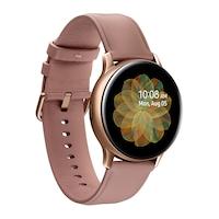 Samsung Galaxy Watch Active 2 okosóra, 40 mm, rozsdamentes acél kivitel, arany bőrpánttal