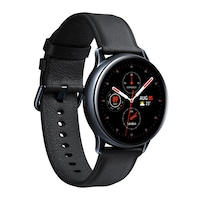 Samsung Galaxy Watch Active 2 okosóra, 40 mm, rozsdamentes acél kivitel, fekete tokkal, fekete bőrpánttal
