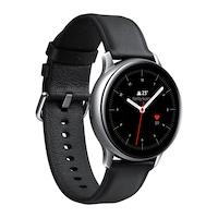 Samsung Galaxy Watch Active 2 okosóra, 40 mm, rozsdamentes acél kivitel, ezüst tokkal, fekete bőrpánttal