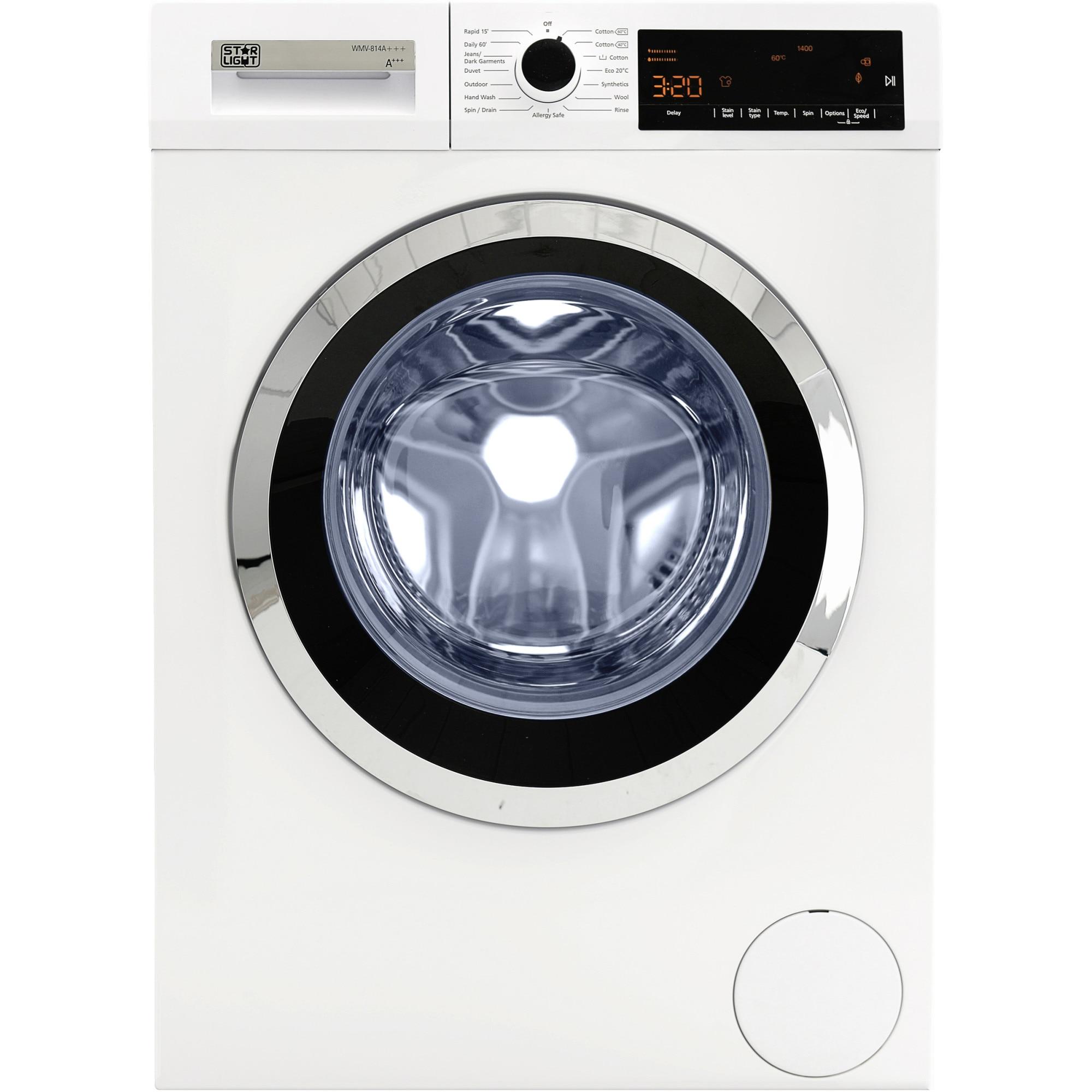 Fotografie Masina de spalat rufe Star-Light WMV-814D, 8 kg, 1400 RPM, Display LED, Clasa D, Alb