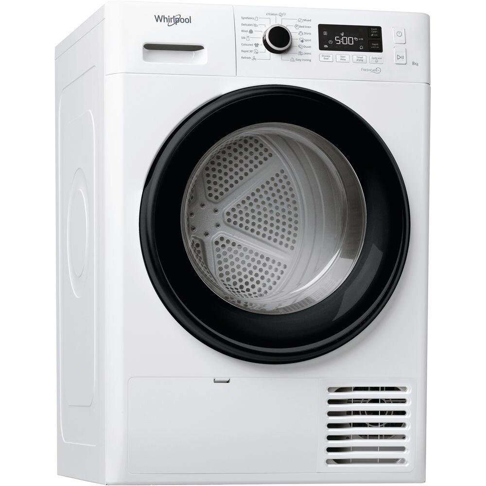 Fotografie Uscator de rufe Whirlpool FreshCare+ FTM1182BEE, Pompa de caldura, 8 kg, Clasa A++, Motor Inverter, 6th Sense, Display digital, Alb