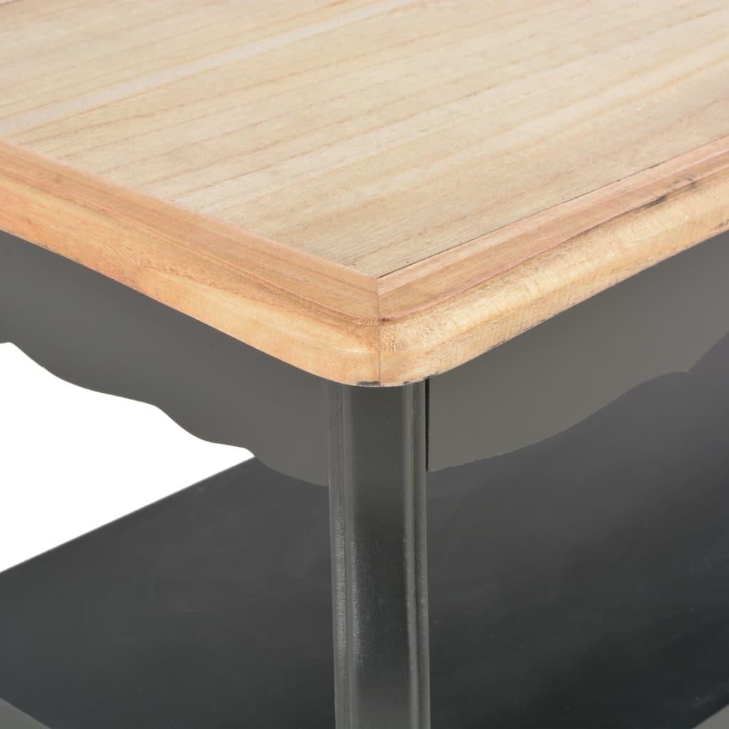 Dohányzóasztal, vidaXL, tömör fenyőfa, fekete és barna, 87,5 x 42 x 44 cm kJdcyx