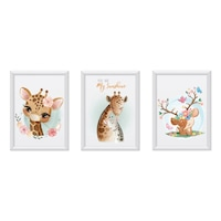 3 festmény készlet a gyerekszobához, Állatok 24, Digital Ascend, MDF keret 30x20cm, biztonságos plexi üveg