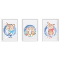 3 festmény készlet a gyerekszobához, Állatok 25, Digital Ascend, MDF keret 30x20cm, biztonságos plexi üveg