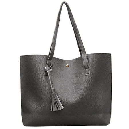Műbőr shopper táska Amelia, sötétszürke