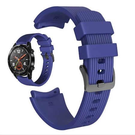 Силиконова каишка S-pulse за , Samsung Galaxy Watch R800 , Watch 3, Huawei watch GT/GT2/GT2 Pro/Watch 3/Watch 3 pro, 22mm, цвят тъмно син