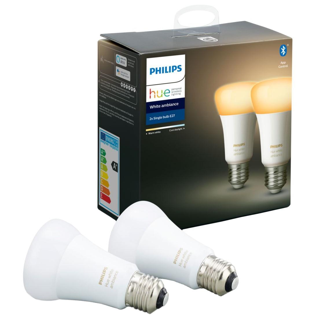 Fotografie Pachet 2 becuri inteligente Philips HUE, Bluetooth/Wireless, E27, 8.5W (60W), 806 lm, A+, lumina alba