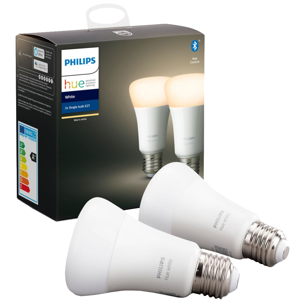Fotografie Set 2 becuri inteligente LED Philips HUE, Bluetooth/Wireless, E27, 9W (60W), 806 lm, A+, lumina alba